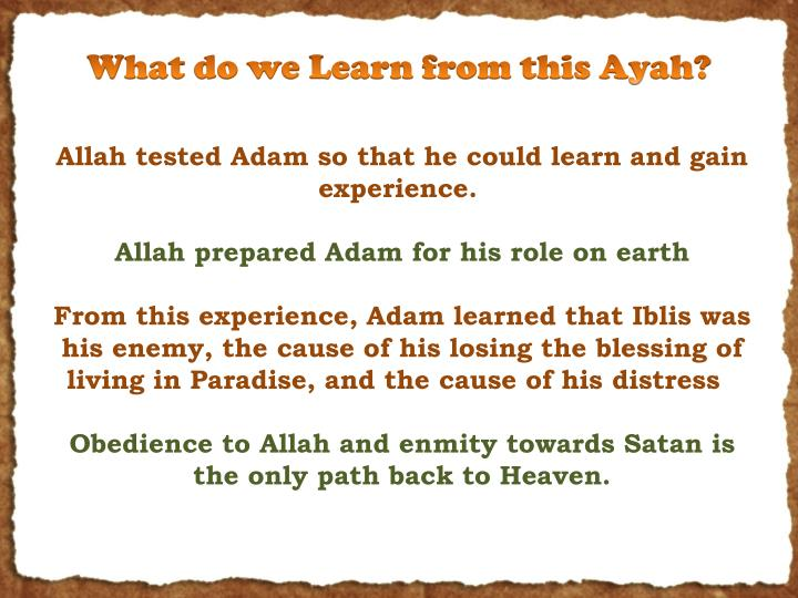 What do we Learn from this Ayah?
