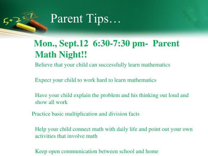 Parent Tips…