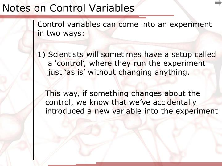 Notes on Control Variables