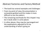 abstract factories and factory method