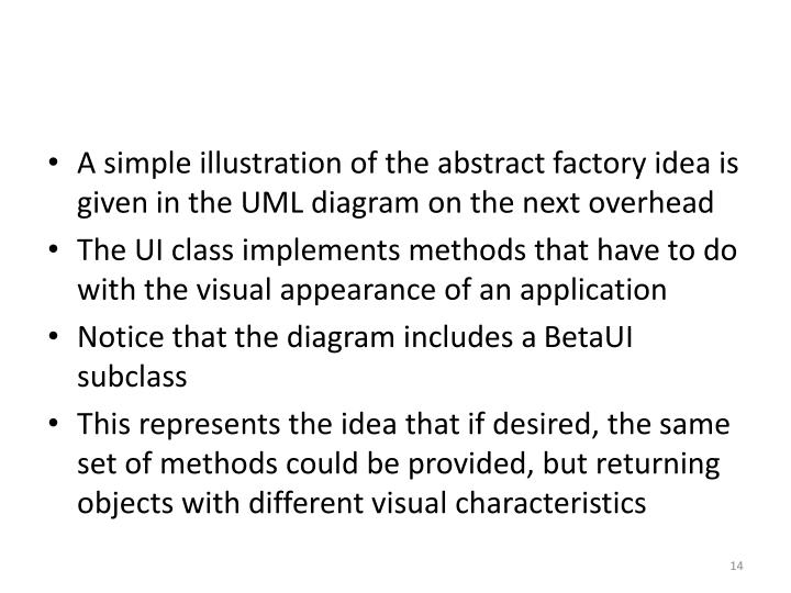 A simple illustration of the abstract factory idea is given in the UML diagram on the next overhead