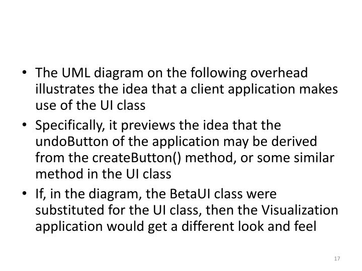 The UML diagram on the following overhead illustrates the idea that a client application makes use of the UI class