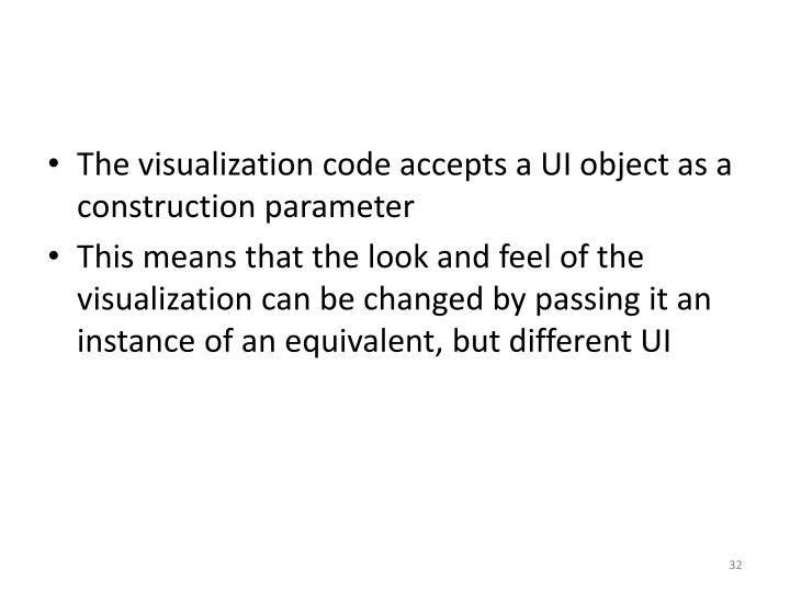 The visualization code accepts a UI object as a construction parameter