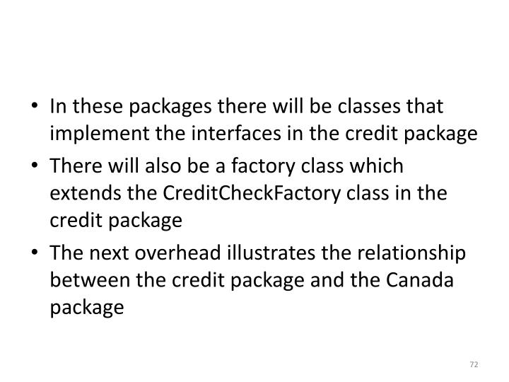 In these packages there will be classes that implement the interfaces in the credit package