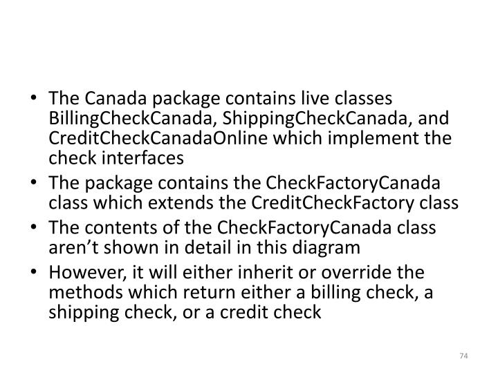 The Canada package contains live classes