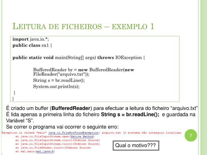 Leitura de ficheiros – exemplo 1