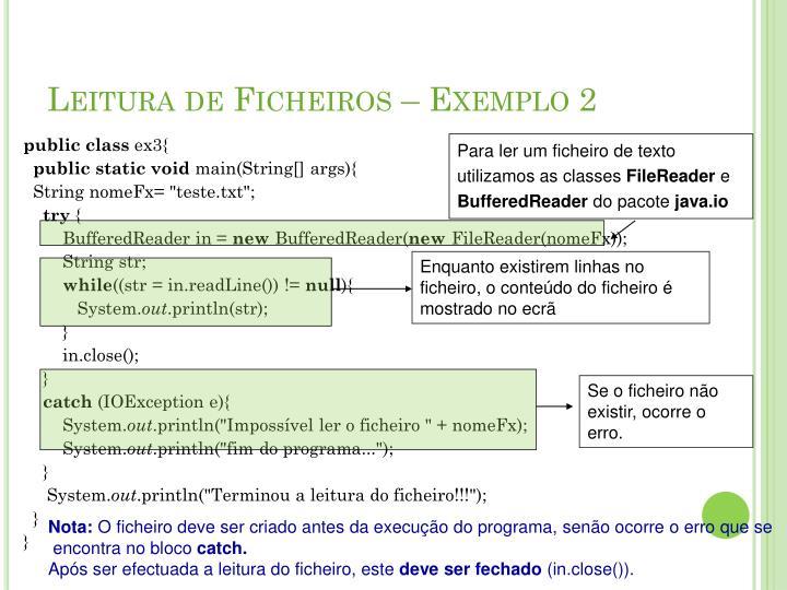 Leitura de Ficheiros – Exemplo 2