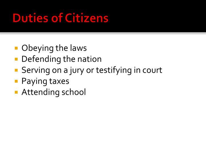 Duties of Citizens
