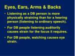eyes ears arms backs