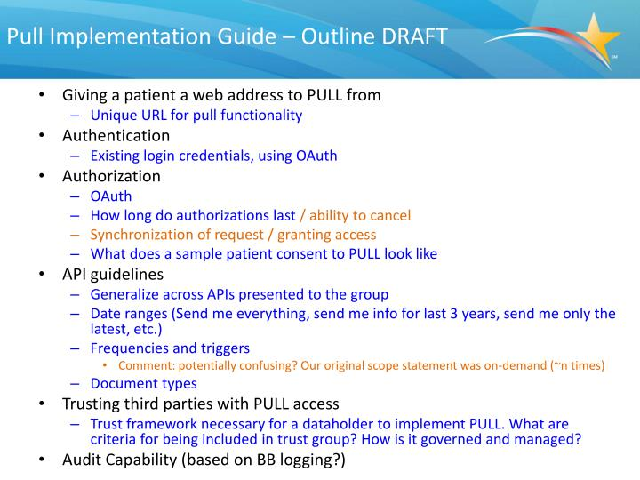 Pull Implementation Guide – Outline DRAFT