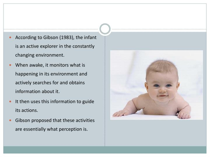 According to Gibson (1983), the infant is an active explorer in the constantly changing environment.