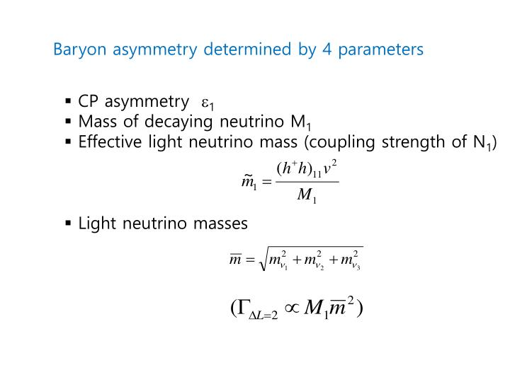 Baryon asymmetry determined by 4 parameters