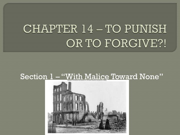 Chapter 14 to punish or to forgive