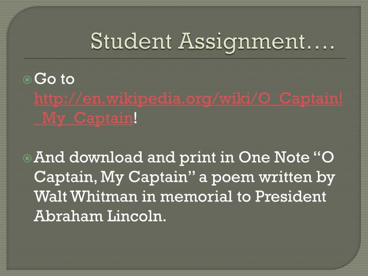 Student Assignment….