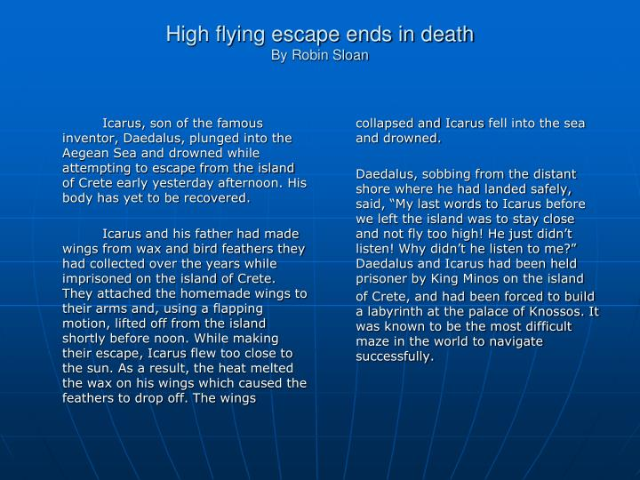 High flying escape ends in death