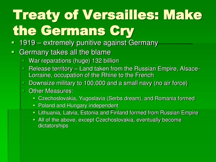 comparing congress of vienna to treaty of versailles Treaty of versailles  to use the congress of vienna as a counterexample, france in 1815 lost none of the territory that it possessed in 1789 germany lost  (treaty of brest-litovsk) but the question isn't if germany deserved it or not, so much as what was the most effective way to.