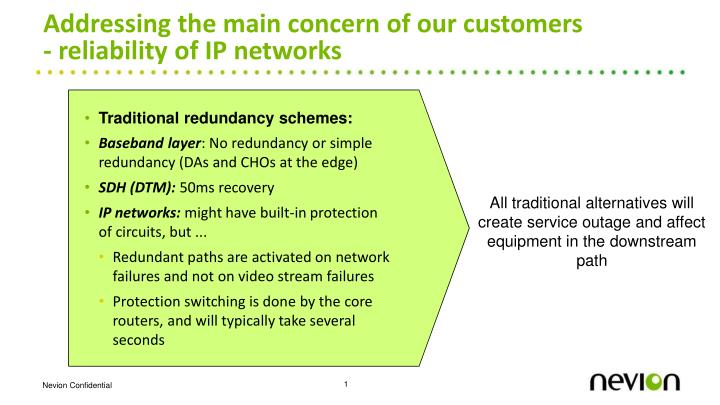 Addressing the main concern of our customers reliability of ip networks