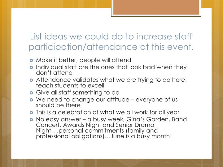 List ideas we could do to increase staff participation/attendance at this event.