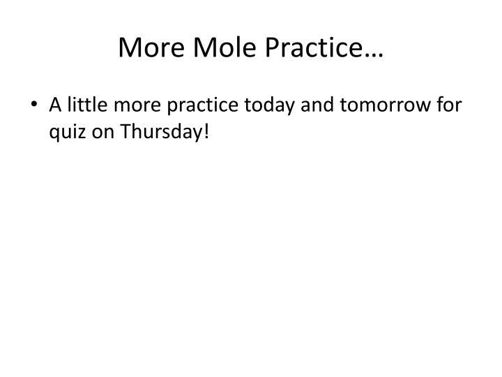More Mole Practice…