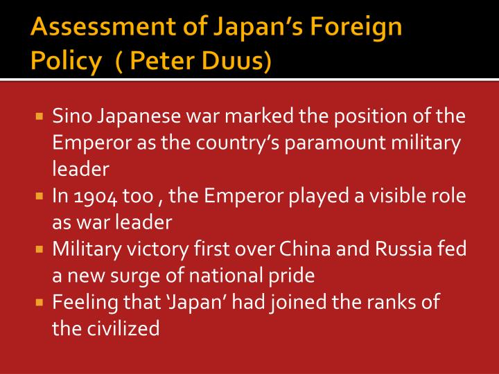 Assessment of Japan's Foreign Policy  ( Peter