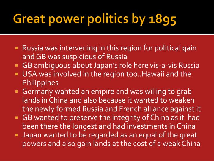 Great power politics by 1895