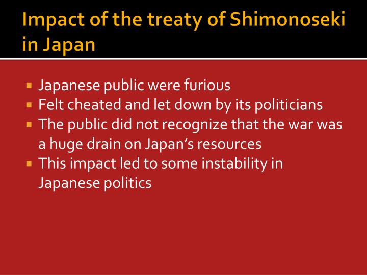 Impact of the treaty of Shimonoseki in Japan