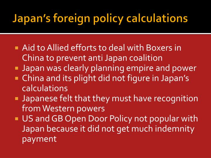 Japan's foreign policy calculations