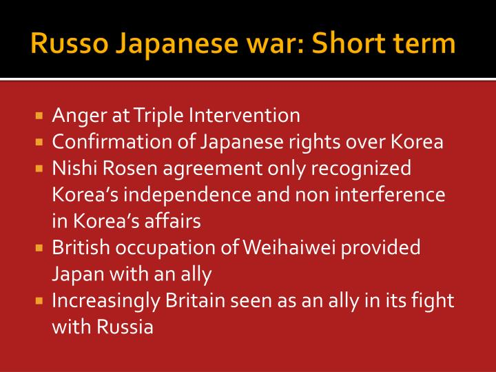 Russo Japanese war: Short term