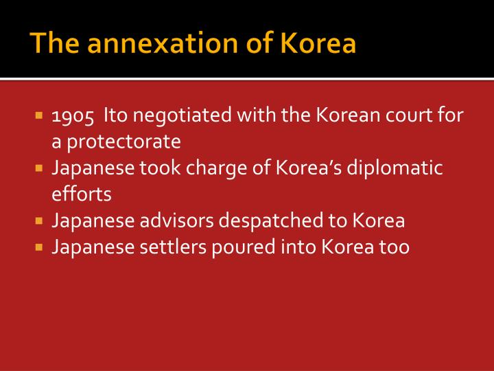 The annexation of Korea