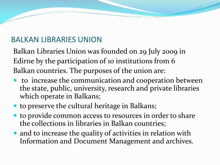 BALKAN LIBRARIES UNION