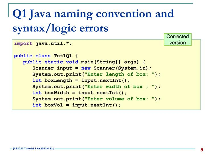 Q1 Java naming convention and syntax/logic errors