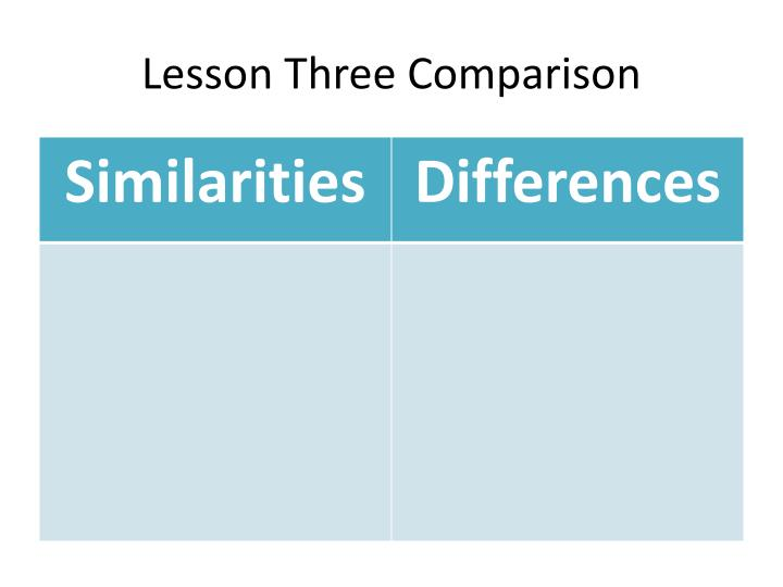 Lesson Three Comparison