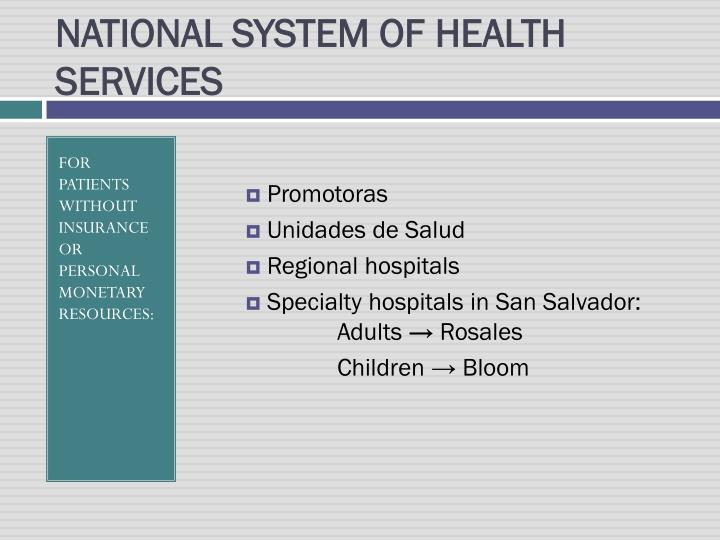 NATIONAL SYSTEM OF HEALTH SERVICES