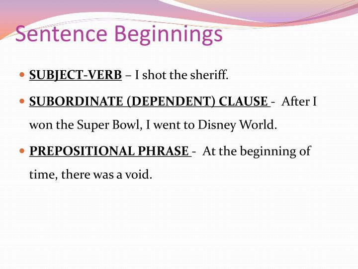 Sentence Beginnings