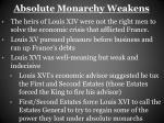 absolute monarchy weakens