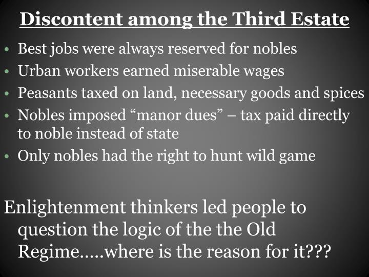 Discontent among the Third Estate