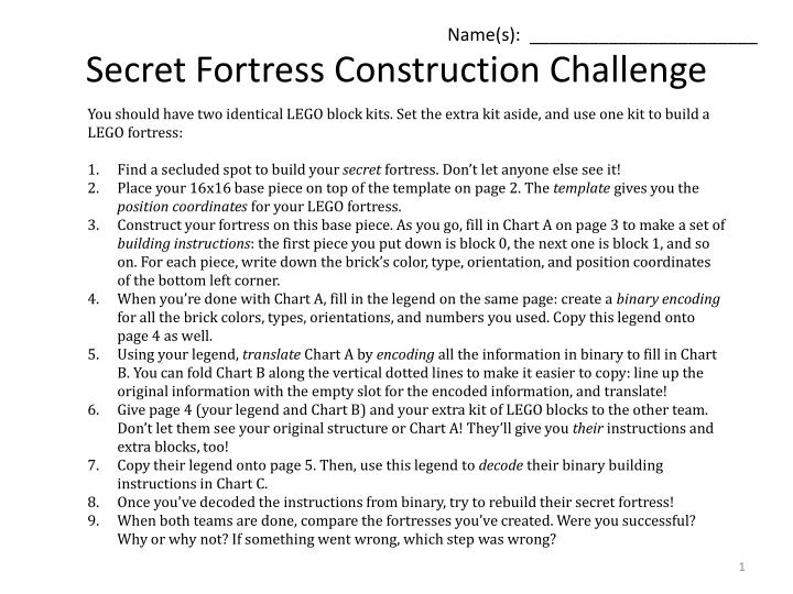 Secret fortress construction challenge
