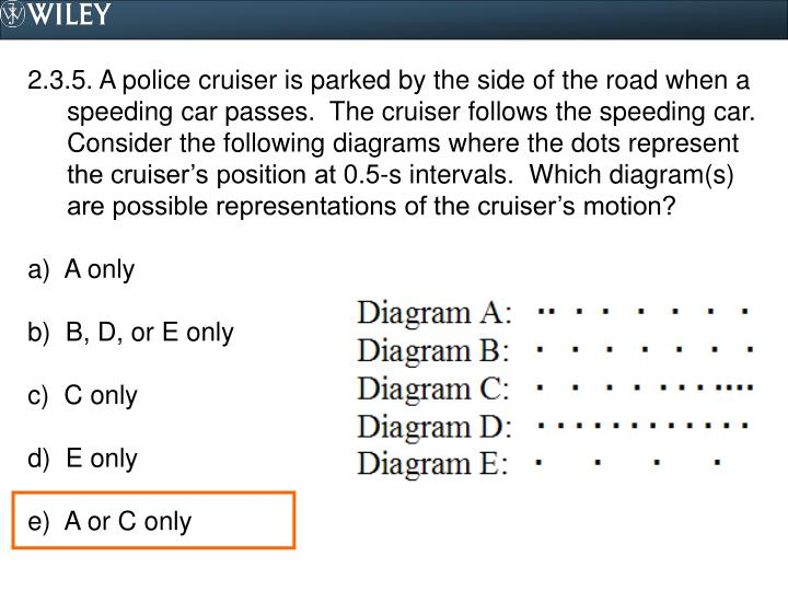 2.3.5. A police cruiser is parked by the side of the road when a speeding car passes.  The cruiser follows the speeding car.  Consider the following diagrams where the dots represent the cruiser's position at 0.5-s intervals.  Which