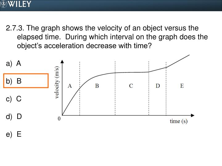 2.7.3. The graph shows the velocity of an object versus the elapsed time.  During which interval on the graph does the object's acceleration decrease with time?