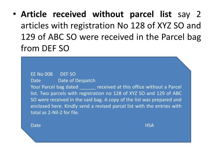 Article received without parcel list