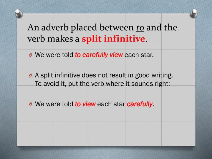 An adverb placed between