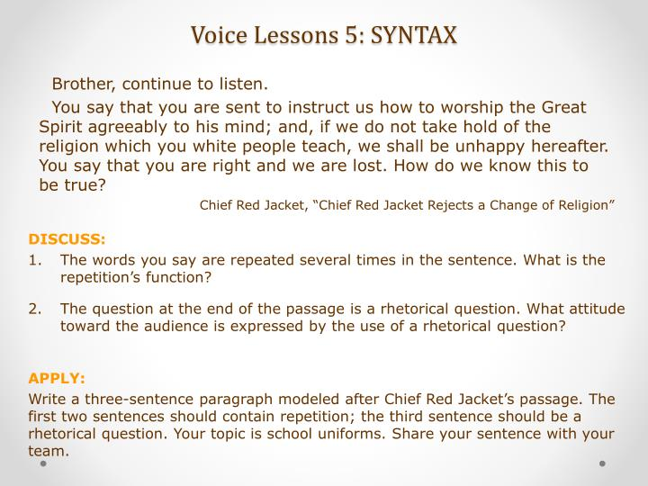 Voice Lessons 5: SYNTAX