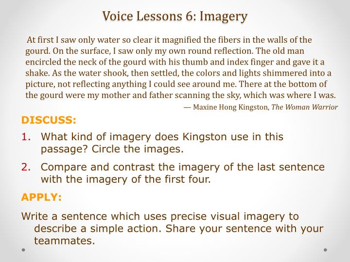 Voice Lessons 6: Imagery