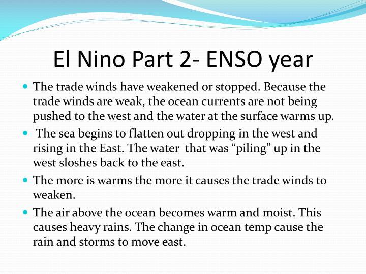 El Nino Part 2- ENSO year