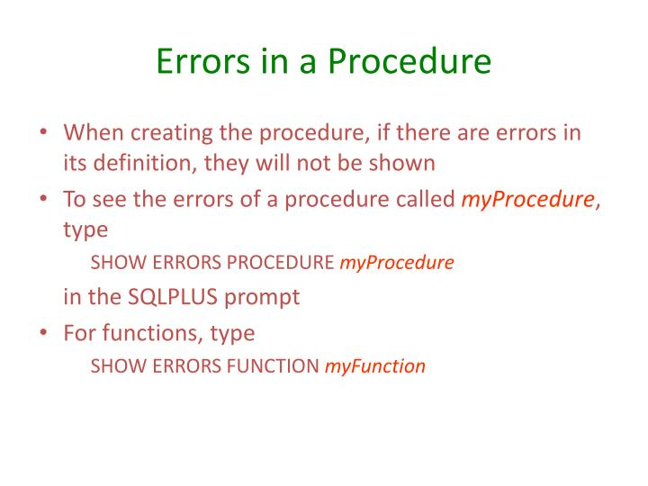 Errors in a Procedure