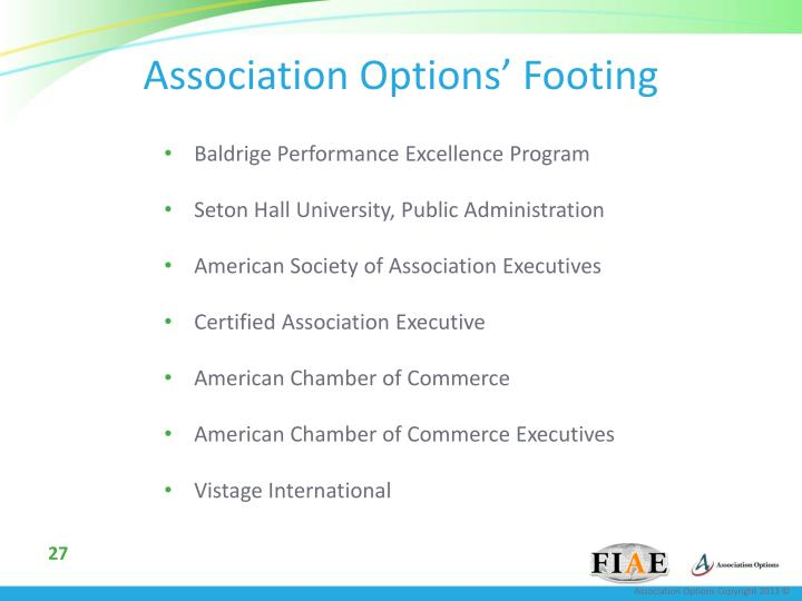 Association Options' Footing