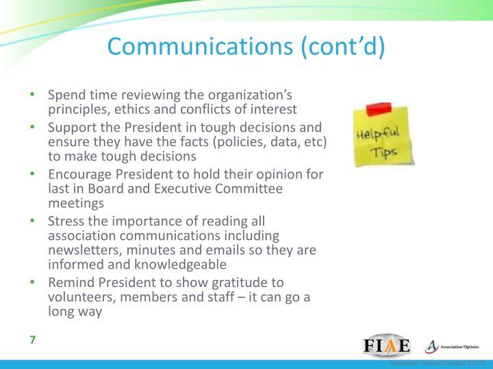 Communications (cont'd)