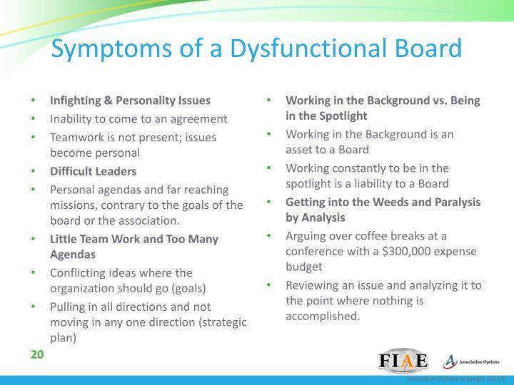 Symptoms of a Dysfunctional Board