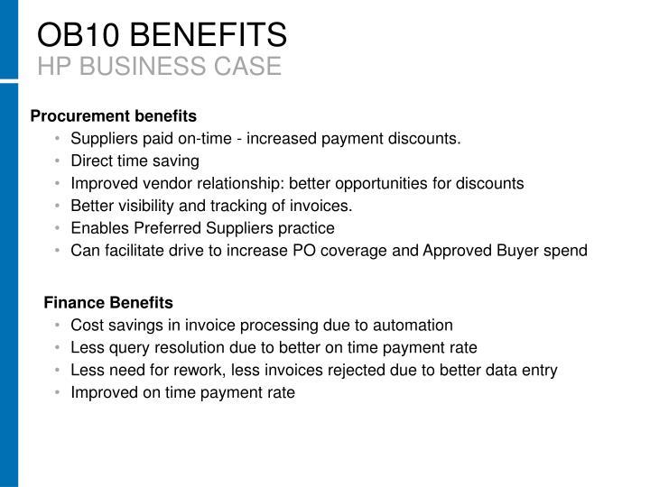 OB10 BENEFITS