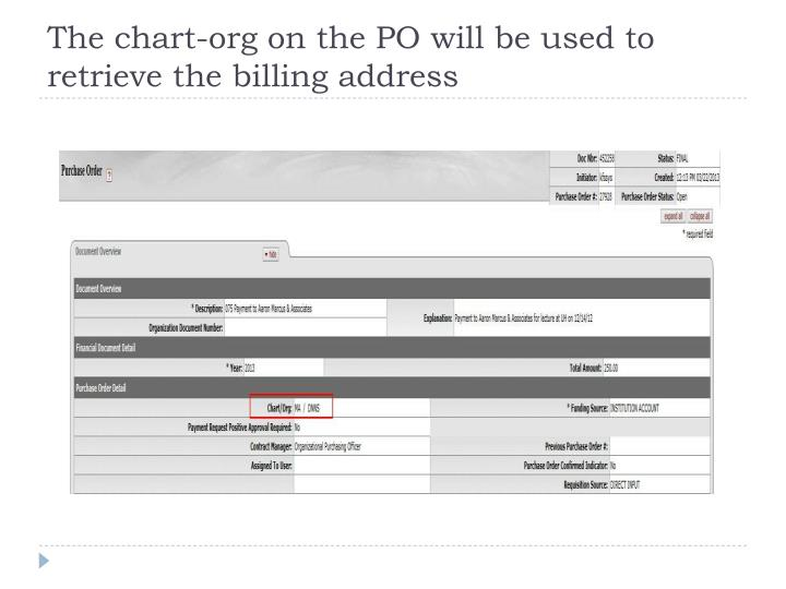 The chart-org on the PO will be used to retrieve the billing address